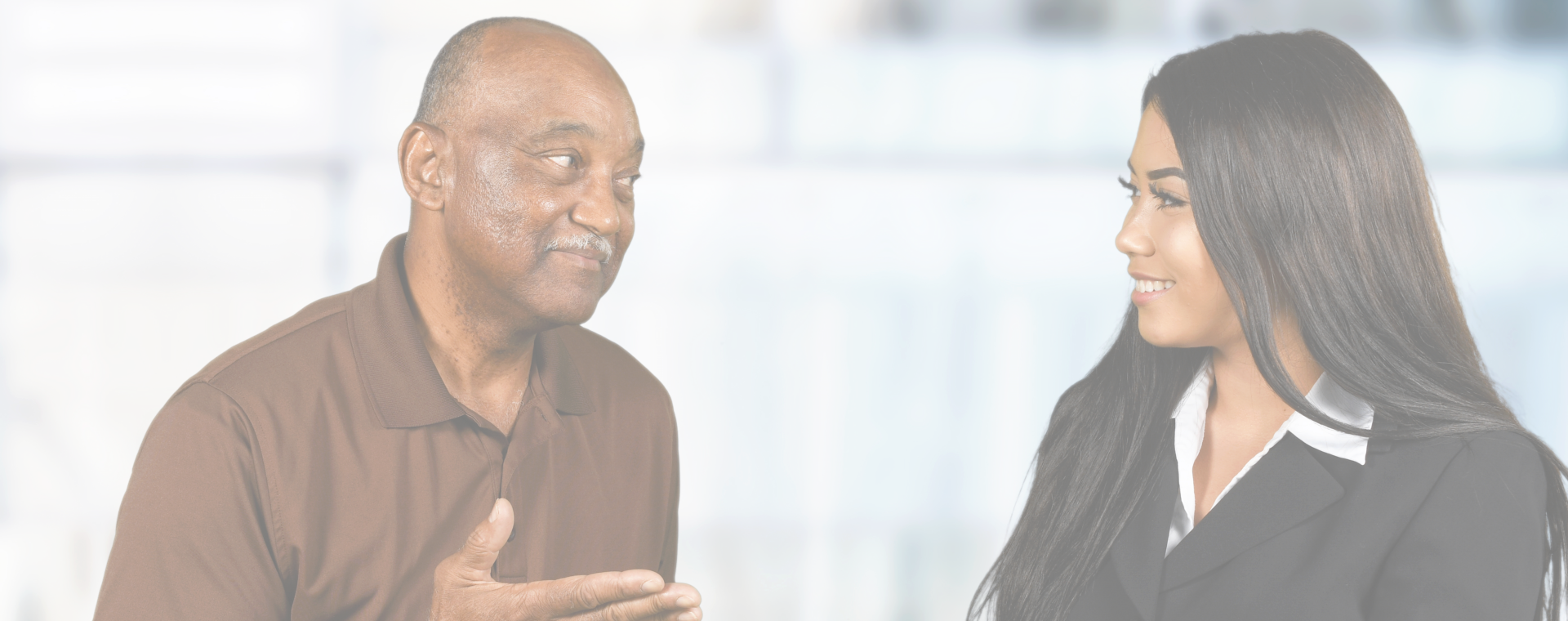 black man and woman talking